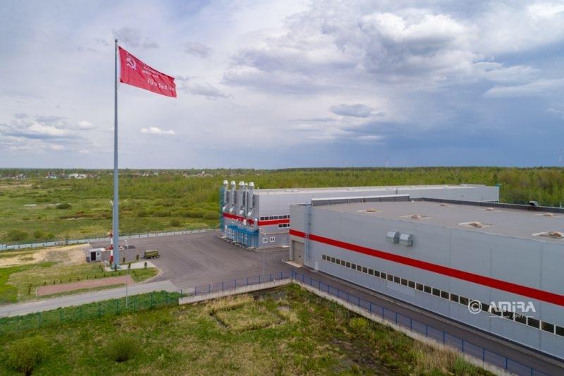 50-метровый флагшток на заводе Мегаполис (ГК