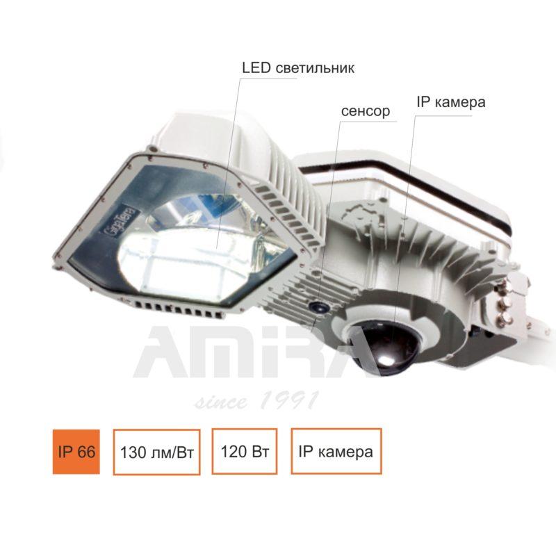 светильник светодиодный с камерой SPES SETA 120 (GigaTera)