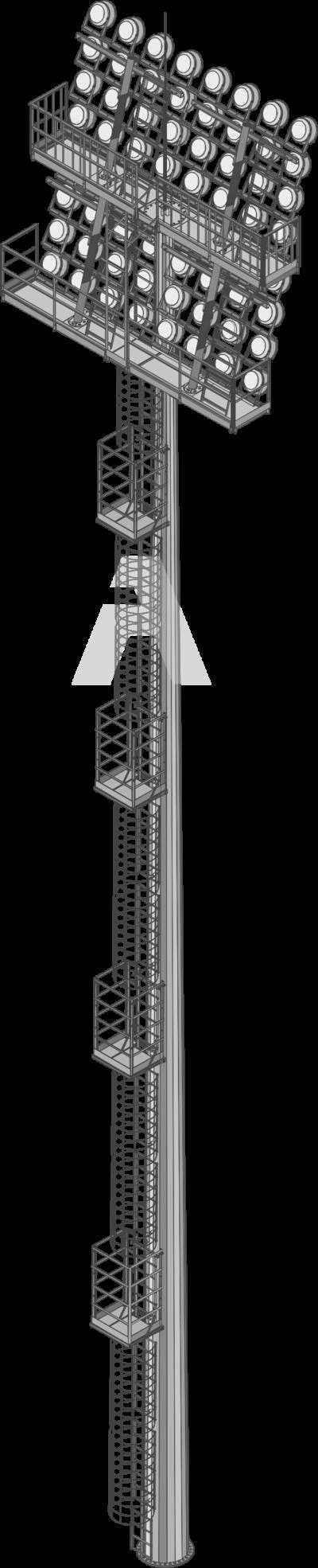 Стадионные прожекторные мачты со стационарной короной (ВМОН)
