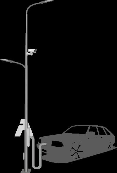 Опоры освещения с зарядной станцией для электромобилей