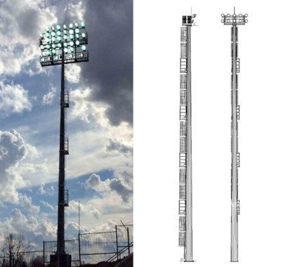 Прожекторные мачты со стационарной короной (ВМОН, ВМОНТ)