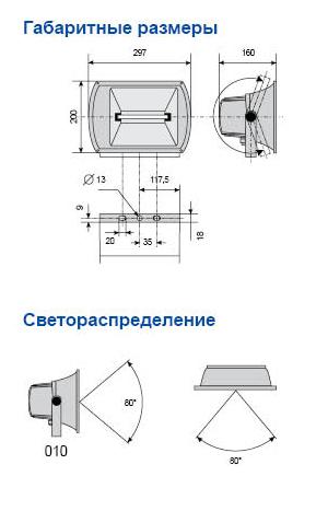 чертеж прожектор амира го 05-70-010 широкое светораспределение